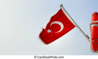 Turkish Flag waving on the sky