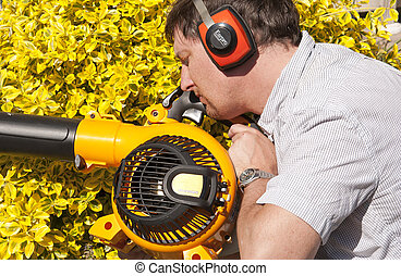 sleeping with the garden blower