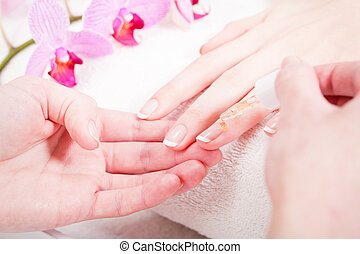 manicure making in beauty spa salon - professional...
