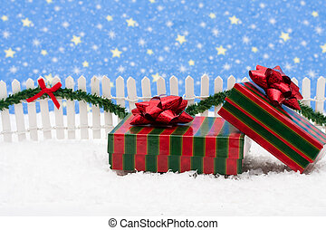 Merry Christmas - Christmas presents and white picket fence...