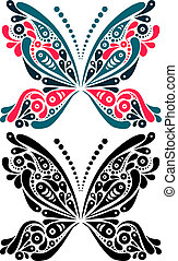 Beautiful butterfly tattoo Artistic pattern in butterfly...