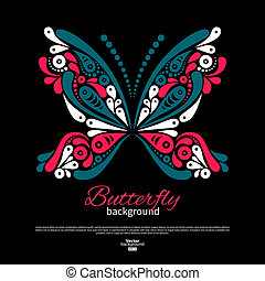 Background with beautiful butterfly. Tattoo design