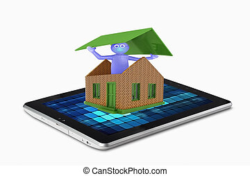 Symbols of house on a tablet