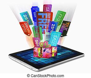 Sale Tags, Tablet PC, Concept