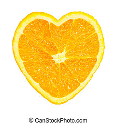 Slice of fresh orange heart shaped isolated on white...