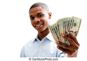 Happy money - African man smiling and holding money,...