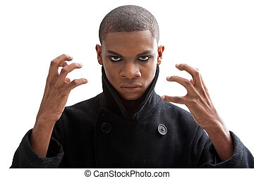 Aggressive - African man with smokey eyes, strong expression...