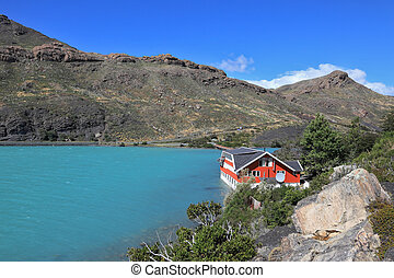 Island Lake Pehoe and hotel. - National Park Chile - Torres...
