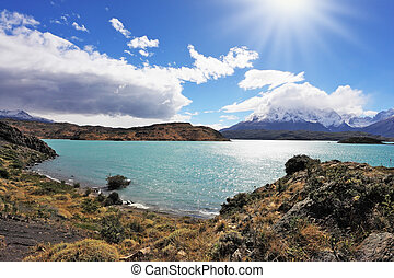 The turquoise lake Pehoe in park Torres del Paine, Chile -...