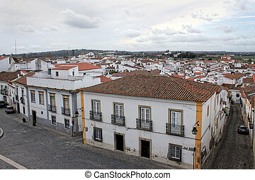 Colorful houses of Evora, Portugal - Colorful buildings and...