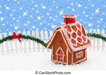 Merry Christmas - Gingerbread house and white picket fence...