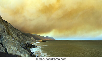 Massive Smoke Plumes over PCH-1, CA - Brush fire smoke...