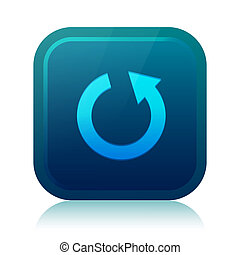 Rounded square repeat icon with reflection