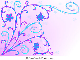 Lilac pattern - Blue and lilac branches, flowers, leaves on...
