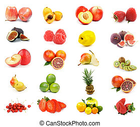 Fruits Collection with Apples, Oranges, Kiwi, Pineapple,...