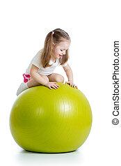 ボール, 体操, 隔離された, 楽しみ, 女の子, 持つこと, 子供