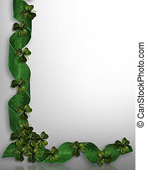 St. Patricks Day Border Shamrocks - 3D Illustration for St...