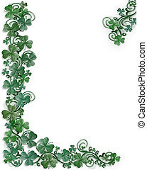 St Patricks Day Shamrocks border - Illustration for St...