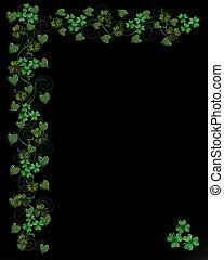 St. Patricks Day border on black - Illustration for St...