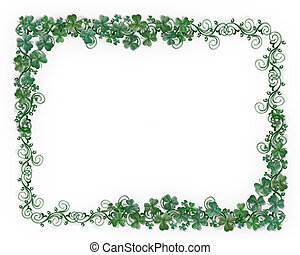 St Pattys Day border clover - Illustration for St Patricks...