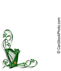 St Patricks Day Celtic Harp corner design illustration For...