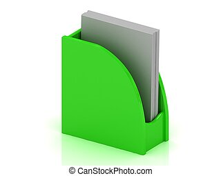 Green plastic holder for business cards, stationery, papers...