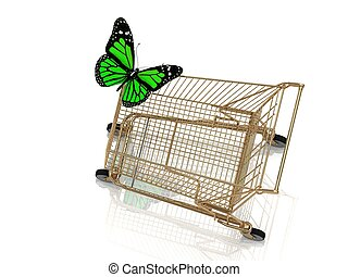 Big green butterfly flew to the basket supermarket