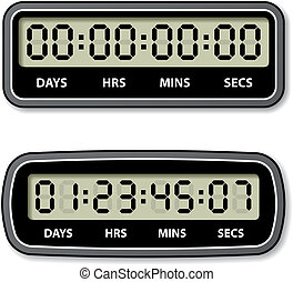 vector black LCD counter - countdown timer