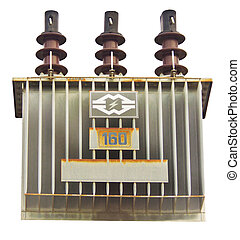 transformer on high power station - the power pole in white...