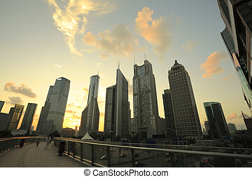 Lujiazui Finance and City offices buildings sunset landscape...