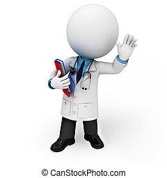 3D, 白, 人々, 医者