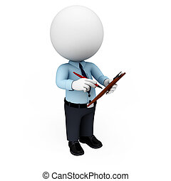 3d white people as service man - 3d rendered illustration of...