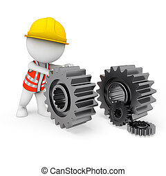 3d white people as worker with gear - 3d rendered...