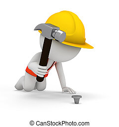 3d people as worker with hammer