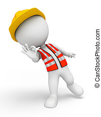 3d white people as road worker