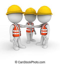 3D, branca, pessoas, estrada, trabalhador
