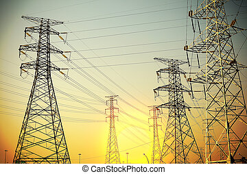 The power transmission towers of sky background - Power...