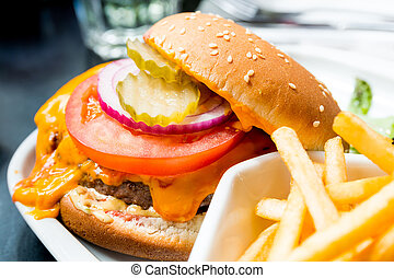 hamburger - Cheese burger - American cheese burger with...