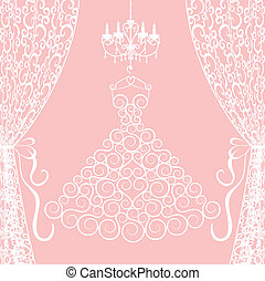 dress, curtains and chandelier - Wedding card with dress,...