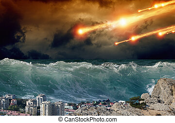 Tsunami, asteriod impact - Apocalyptic background - giant...