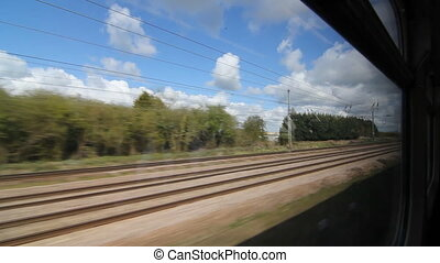 Travelling by train in the UK. Wind