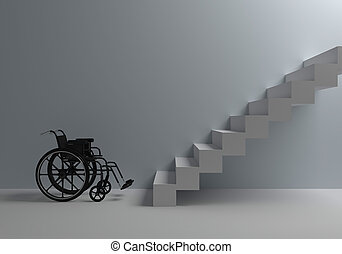 wheelchair in front of stairs - Problems of people with...