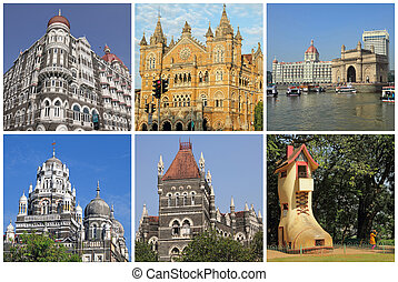 collage with landmarks  of Mumbai