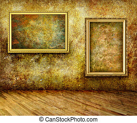 Old Frame museum - A dark, grungy room with gold frames on...