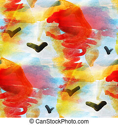art texture abstract water blue, orange color seamless background watercolor