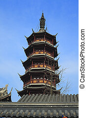 Ancient Chinese temple tower in Wuxi