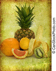 tropical fruit - Fresh tropical fruit on a grungy background...