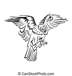 falcon flight tattoo black and whit - On a black and white...
