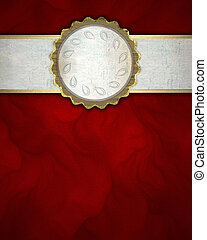 red background with a white stripe and a golden circle....