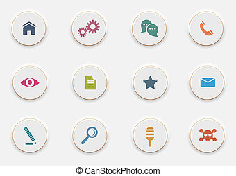 Computer Icons on round white buttons. Vector set
